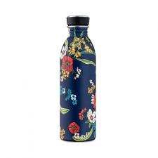 24Bottle drinkfles donkerblauw met bloemen