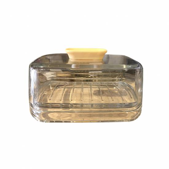 Botervloot glas met geel kunststof