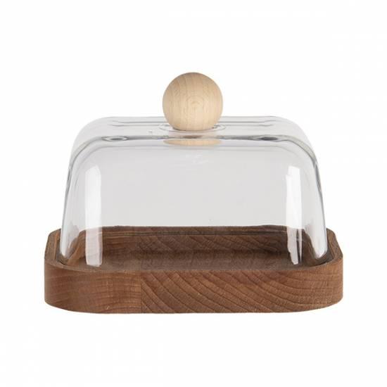 Botervloot glas met hout