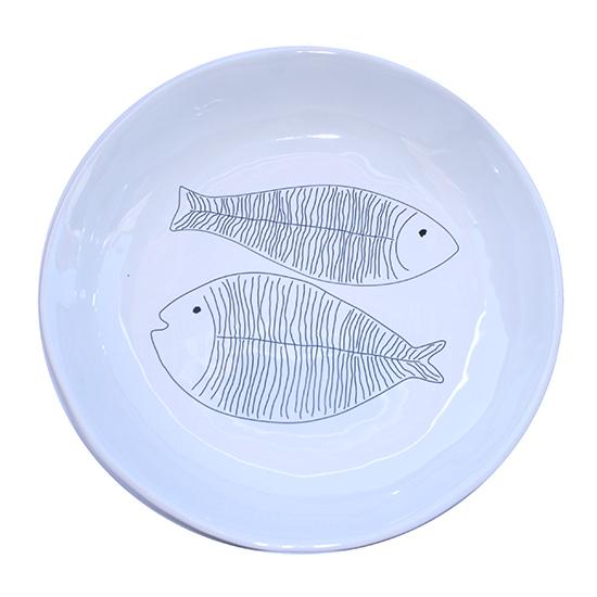 grote ronde schaal met vissen